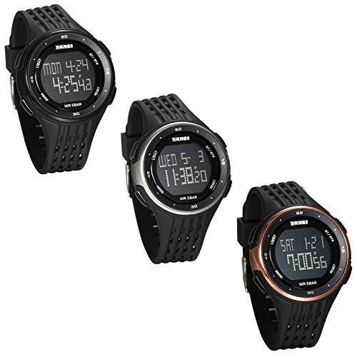 JewelryWe Reloj Digital Deportivo para Hombres, Tiempo Dual Multifunciones Reloj Grande, 5ATM Impermeable Relojes para Aire Libre, Regalo para Chicos Adolescentes
