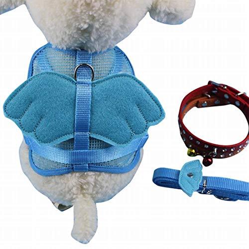 Dirgee Arnés para Perros Ningún tirón Ajustable Pet Reflectante Oxford Chaleco Suave Easy Control Harness Pet Angel Cofre Traction Rope (Color: Azul) (Color : Blue)