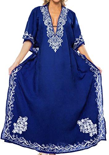 LA LEELA Mujeres caftán Rayón túnica 3D HD Impreso Kimono Libre tamaño Largo Abaya Vestido Jalabiyas de Fiesta para Loungewear Ropa de Dormir Playa Todos los días Cubrir Vestidos Azul_N419