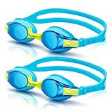 vetoky Kids Swim Goggles, Pack of 2 Anti Fog Swimming Goggles UV Protection Clear No Leaking for Child and...