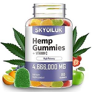 Hemp Gummies 4,666,000mg Premium Extract Natural Hemp Candy Supplements with Vitamin C Gummy 80 Chews