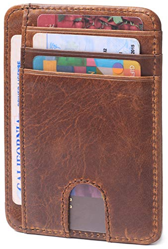 Slim Minimalist Credit Card Holder Front Pocket RFID Blocking Leather Wallets for Men & Women (Crazy-Horse Leather Brown)