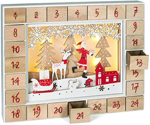 BRUBAKER Advent Calendar - Red Santa - Wooden Christmas Forest Scene with LED Lighting - 14 x 2.3 x 10.63 inches
