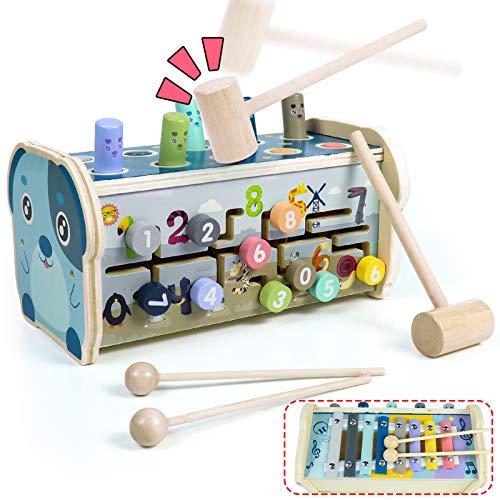 Fajiabao Giochi Montessori Banco da Martellare in Legno per Bambini con Martello Giocattolo Xilofono & Gioco del Labirinto 3 in 1 Giochi Educativi Regalo per Ragazzi Ragazze 2 3 4 Anni