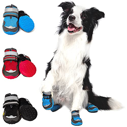 Dog Boots - Breathable Safety Shoes with Sports Silicone - Adjustable Non Slip Booties for Hot Pavement - Prevent Accidental Injuries to Dog Paws - Apply to All Kinds Dogs (2PCS)