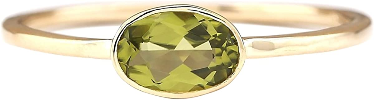 0.6 Carat Natural Green Peridot 14K Yellow Gold Solitaire Promise Ring for Women Exclusively Handcrafted in USA