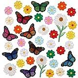 39 parches bordados de flores para pegar bolsas de costura