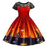 Lazzboy Kleinkind Teen Kinder Mdchen Halloween Lace Geraffte Print Kleid Party Kostm Kleidung Bezaubernde Hexe(Orange,Hhe:130)