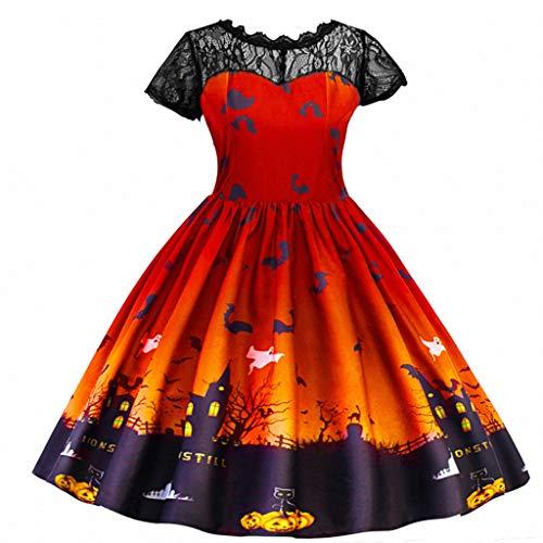 Tensay Teen Kinder Mädchen Halloween Spitze Geraffte Print Kürbis Muster Kleid Party Kostüm Cosplay Kleidung