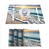 FloraGrantnan Non-Slip Heat Resistant Dining Table Placemats, Sunrise Over Beach in Cancun, Placemats Washable Easy to Clean, Set of 6