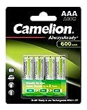 Mobile Energie - 4 Batterien der Baugröße AAA, Micro zur Stromversorgung kleiner, meist tragbarer Geräte zuhause, unterwegs und am Arbeitsplatz Schnellladefähige Akkus mit langer Lebensdauer (bis zu 1.000 Ladungen / Entladungen möglich), geringer Sel...