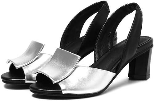 NVLXIE Les Les dames Sandales Doux Super Mille Skins Basse Aide Talons Hauts Bouche de Poisson Orteil Toe Party Shopping Noir Argent 7cm