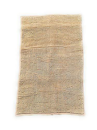 Trappeto Bagno Freddy 50x80 cm, col. Avorio, 100% Morbida Microfibra, Fondo Antiscivolo, Assorbente, Lavabile in Lavatrice, Rapida Asciugatura