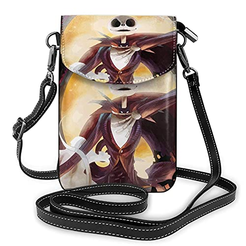XCNGG Monedero pequeño para teléfono celular Women's Small Crossbody Bag with Shoulder Strap,Charm of Jack Skellington Small Cell Phone Purse Wallet with Credit Card Slots