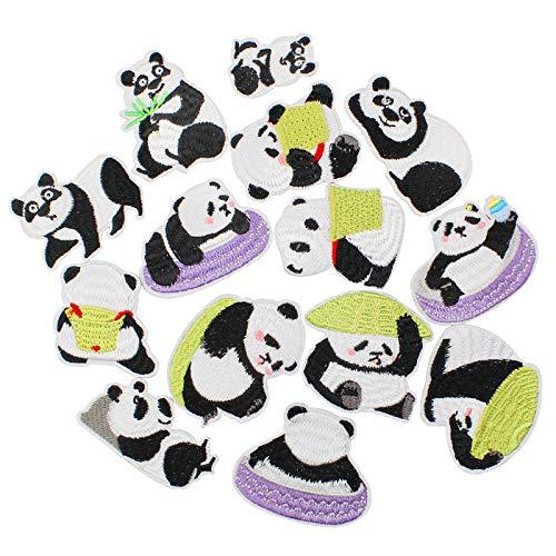 Baven 14 Pezzi Toppe Termoadesive Panda Toppa Ricamata Adesivo in Tessuto Termoadesivo con Motivo Animalier, Toppa Decorativa Ricamata per Magliette, Cappelli, Jeans