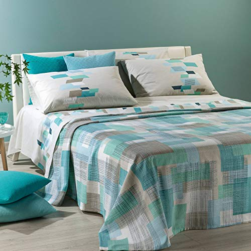 Colcha de verano no acolchada Zenith Alice Caleffi para cama de matrimonio, 260 x 260 cm, tejido piqué de algodón