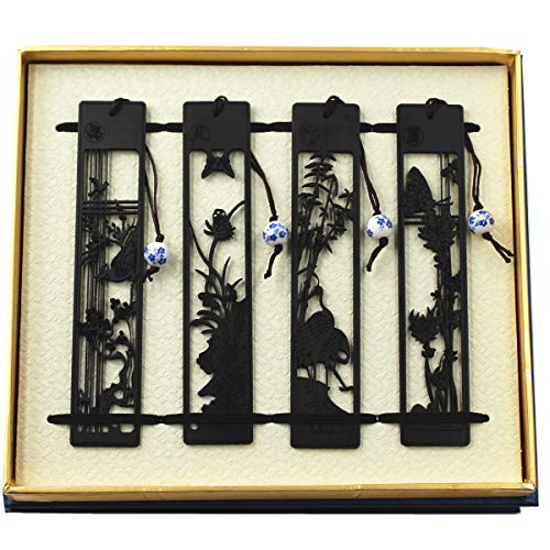 Holz Ebenholz Lesezeichen 4pcs Set Handmade Carving Handwerk mit Geschenk-Box am besten für Weihnachten Geburtstagsgeschenk