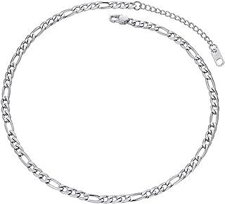 عقد سلسلة فيجارو من الفضة الاسترليني 925/ ستانلس ستيل من بروستيل، مناسبة كحلي للرجال/ النساء، 2.9 ملم - 13 ملم، 18-30 انش