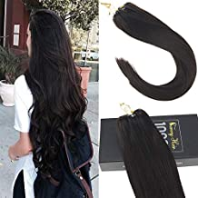 Sunny Ring Loop Hair Extension-50Strands Full Head Darkest Brown (Col #2)-Micro Link Hair Extensions Remy Human Hair 14 Inches