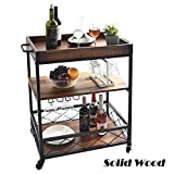 charaHOME Solid Wood Kitchen Serving Carts Rolling Bar Cart with 3 Tier Storage...