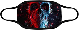 INTERESTPRINT Red and Blue Neon Polygon Glowing Skull Sanitary Face Mouth Mask Washable and Reusable