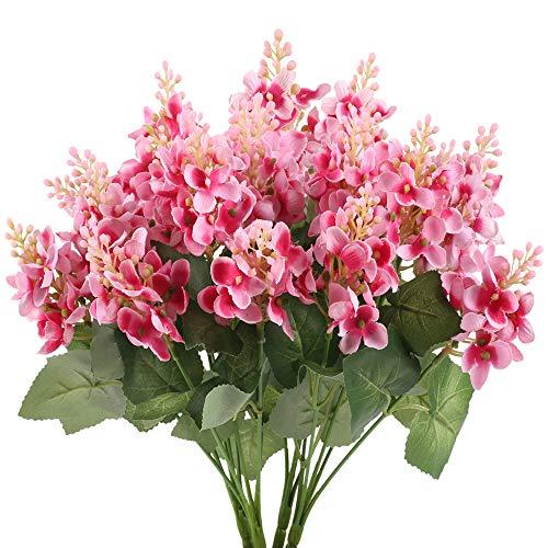 NAHUAA 4Pcs Künstliche Syringa Blumen Deko Blumen Plastikblumen für Hochzeit Party Dekoration Garten Zimmer Büro Balkon Flur Pink