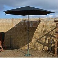 garden mile 2.7m Wind Up Parasol with Steel Shaft Outdoor Garden Patio Easy Assembly Easy Crank Open Garden Furniture Umbrella Shade Covrering (BLK)