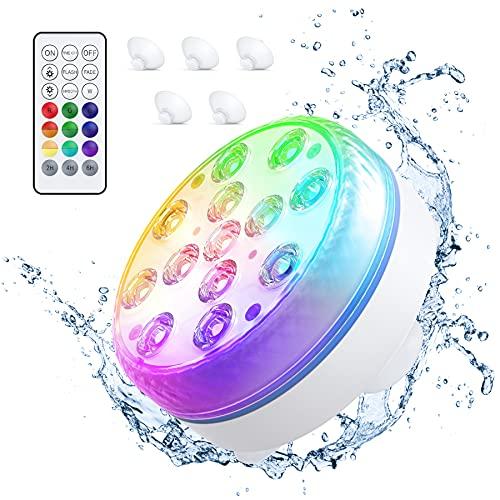 Smarich Unterwasser LED Licht, Poolbeleuchtung mit RF-Fernbedienung, IP68 Wasserdichtes Pool Beleuchtungen mit 13 LED, Pool Licht mit 4 Magnet, 4 Saugnäpfen für Teich Schwimmbad Aquarium Vase Party