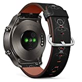S-Type Quick Release Leather Bracelet Watch Band Strap Replacement Wristband Compatible for Huawei Watch 2 Classic - Forest Psychedelic Mystic Old Tree Roots Skull