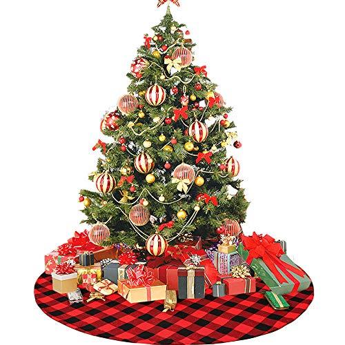 Deggodech Buffalo Plaid Gonna Albero Di Natale 90Cm Rosso E Nero Buffalo Check Gonna Dell'Albero Di Natale Copertura Di Base Tappeto Per Decorazione Natalizia Christmas Tree Skirt