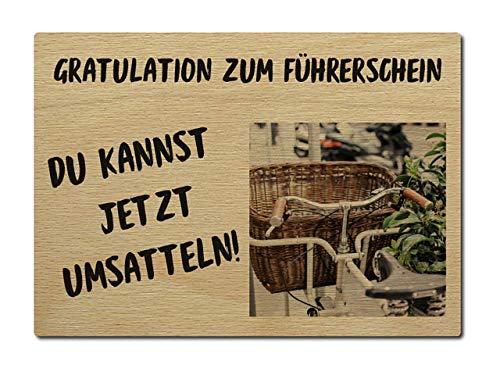 Interluxe Postkarte aus Holz Gratulation zum Führerschein DIN A6 105x148mm Karte Echtholz Grußkarte Spruch Geburtstag Prüfung Glückstag