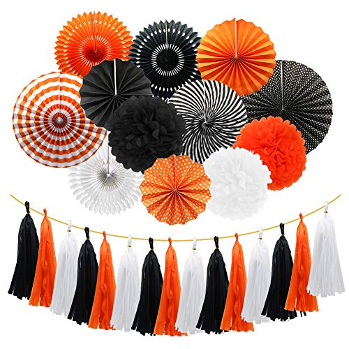 Meiduo Orange Balck White Hanging Paper Fans Pom Poms Flowers Tissue Tassel Garland for Graduations Halloween Carnivals Party Decorations
