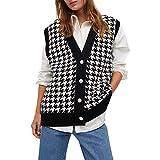 Sucastle Chalecos de suéter para mujer, chaleco de punto sin mangas, ropa de punto con cuello en V...