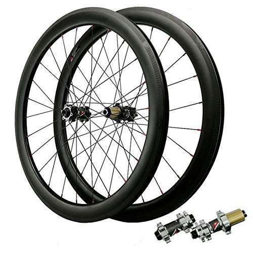 Carbono Ruedas De Bicicleta,700C Ruedas para Bicicleta Vacío Tiro Recto De 24 Hoyos Freno De Disco 7-12 Velocidades Deportes (Color : Gray, Size : 40mm Vacuum Version)
