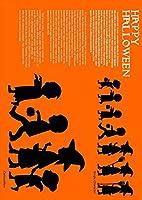 igsticker ポスター ウォールステッカー シール式ステッカー 飾り 515×728㎜ B2 写真 フォト 壁 インテリア おしゃれ 剥がせる wall sticker poster 015810 ハロウィン オレンジ かわいい