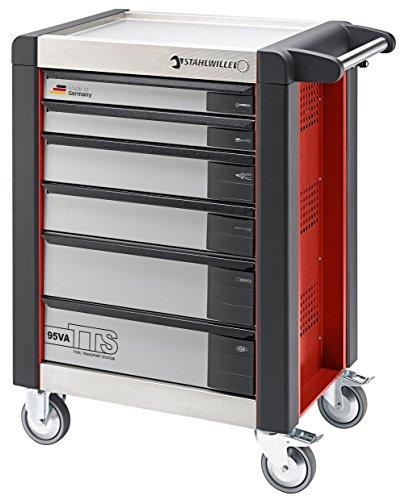 Werkzeugwagen / Werkstattwagen TTS 95VA/6R | 3-stufiges Sicherheitssystem: Zentralverriegelung, Einzelverriegelung und Kippschutz, mit Schubladenkennzeichnung | L x H x B: 82 x 102 x 50 cm