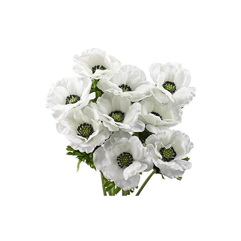 silk flower arrangements fiveseasonstuff 'real touch' spring white silk anemone artificial flowers & wedding bouquet (9 long stems, 18.9 inches)