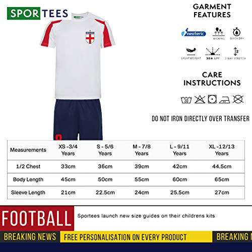 Sportees Retro Kids Personalised Red White And Blue England Style Football Kit Bundle With FREE Gym Bag Youth Football England Boys Or Girls Football Jersey - 7/8 Years