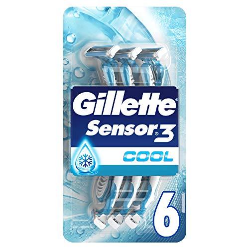 Gillette Sensor3 Cool Rasoirs Jetables Homme, Pack de 6 Rasoirs [OFFICIEL]