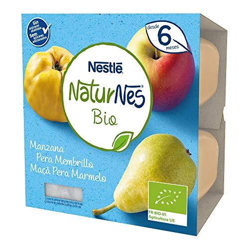 Nestlé Naturnes Bio Tarrina Manzana Pera Membrillo, A Partir De Los 6 Meses - Pack 6 tarrinas 4x90g