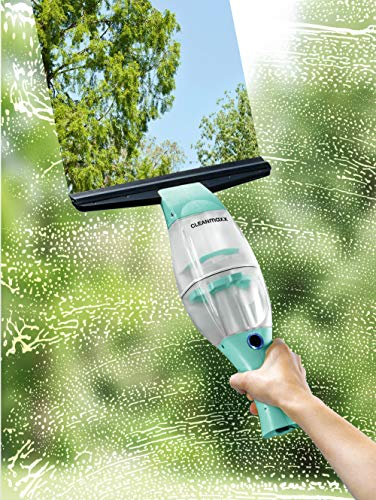 CLEANmaxx Akku-Fensterreiniger mit praktischer Verlängerungsstange Mint/schwarz