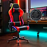 Gaming Chair with Bluetooth Speakers, Music Video Game Chair with RGB LED Lights, Ergonomic High Back Computer Chair PU Leather, 180 Degree Reclining Swivel Chair (Red)