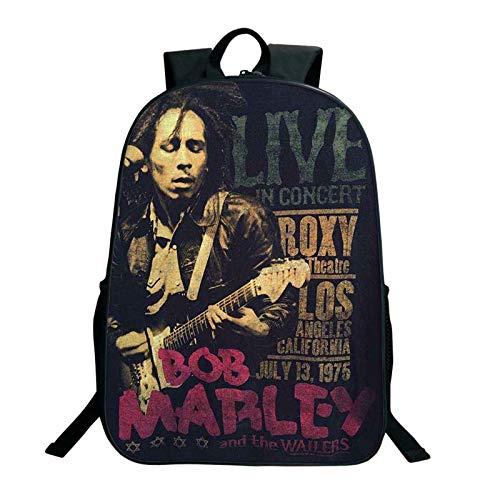 WONS Mochila,Colegio Bolso Estudiante Cartera,Rap Padrino Bob Marley Impreso Mochila Unisexo Sencillo Casual / A2 / 40×30×13cm