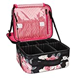 MONSTINA Makeup Train Cases Professional Travel Makeup Bag Cosmetic Cases Organizer Portable Storage Bag for Cosmetics Makeup Brushes Toiletry Travel Accessories (Black Flower)