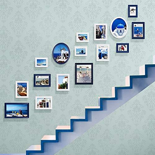 GJJSZ Foto-Wandrahmen, Treppen, dekoratives Gemälde, Fotogalerie-Rahmen, Sets von 16 Stück, Restaurant-Malerei, Wandgemälde, Sofa-Hintergr&, dekorative Gemälde, modisches Design (Farbe: B)