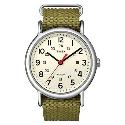 Timex T2N651JT Weekender Slip Thru Nylon Strap Watch - Green