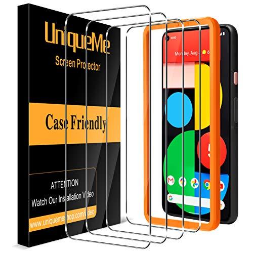 UniqueMe [4 Stück] Panzerglas Kompatibel mit Google Pixel 5 Schutzfolie,[9H-Härte] [Anti-Bläschen] [Anti-Kratzen] HD klar Folie Displayschutz Gehärtetes Glas