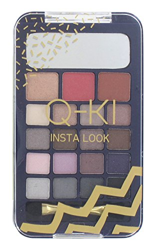 Q-KI Q-KI Instant Look-palet 16 x oogschaduw + Highlighter + blusher + Bronzer + dubbel uitgevoerde applicator