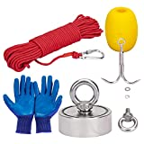 KOTTO Fishing Magnet kit with Grappling Hooks and Rope - 660lbs Combined Strength Retrieval Neodymium Magnets - Includes 64ft Rope and Glove for River Fishing