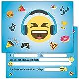12 Lustige Smiley Einladungskarten zum Kindergeburtstag // Emoji Geburtstagseinladungen Einladungen Geburtstag Kinder Jungen Mädchen Einladungstext Emojis 1. Vorlagen Karten Set -